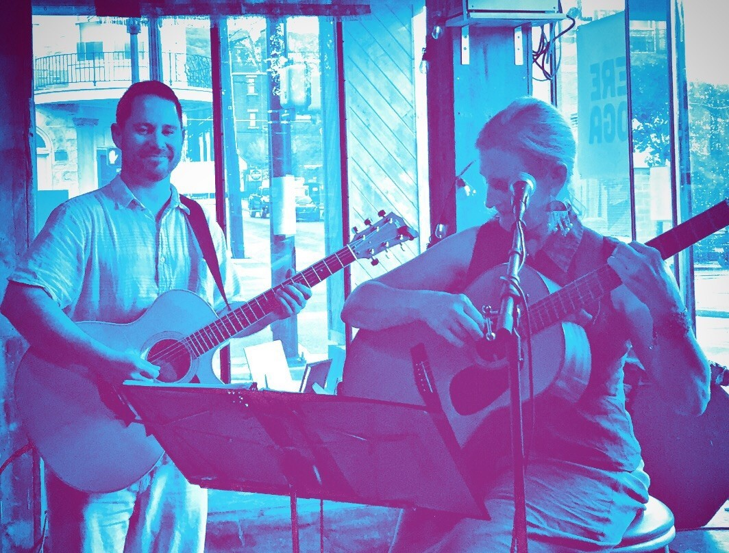 Barbara Reese & Jeremiah Williams playing guitar and singing at Shankara Restaurant in Bethlehem